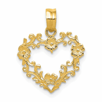 14K Floral Cut-Out Heart Pendant