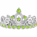 14K Gold Peridot Princess Crown Ring (August Birthstone)