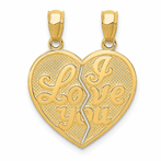 14K I Love You Heart Break-A-Part Reversible Pendant