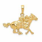 14K Jockey On Horse Pendant