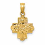 14K Miniature Four Way Medal Pendant