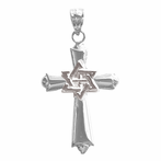 Sterling Silver Cross With Star Of David Pendant (Rhodium, Yellow or Rose Gold-plated)