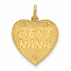 14K Polished Best Nana Indiana Heart Charm