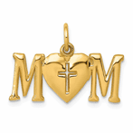 14K Polished Mom With Cross Charm