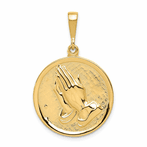 14K Praying Hands & Serenity Prayer Pendant