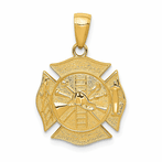14K Reversible Fire Department Shield Pendant