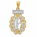 14K & Rhodium Filigree Sweet 16 Pendant