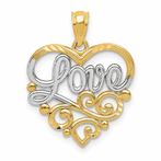14K & Rhodium Scroll Love Pendant