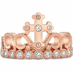 14K Rose Gold CZ Cross Crown Ring