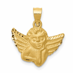 14K Satin Angel Pendant