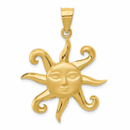 14K Satin Polished Sun Pendant