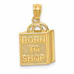 "14K Shopping Bag ""Born To Shop"" Pendant"