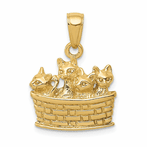 14K Solid Polished 3-D Kittens Indiana Basket Pendant