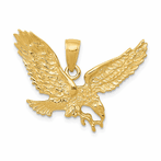 14K Solid Polished Eagle Pendant