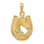 14K Solid Polished Horse Head Indiana Horseshoe Pendant