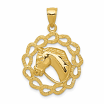 14K Solid Polished Horse Head Indiana Horseshoes Pendant