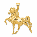 14K Solid Polished Open-Backed Horse Pendant