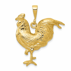 14K Solid Polished Open-Backed Rooster Pendant