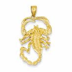 14K Solid Polished Open-Backed Scorpion Pendant