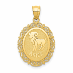 14K Solid Satin Polished Aries Zodiac Oval Pendant