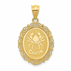 14K Solid Satin Polished Cancer Zodiac Oval Pendant