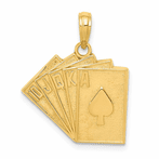 14K Solid Satin Polished Royal Flush Pendant