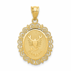 14K Solid Satin Polished Scorpio Zodiac Oval Pendant