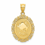 14K Solid Satin Polished Taurus Zodiac Oval Pendant