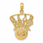 14K Swoosh Basketball And Net Pendant