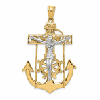 14K Two-Tone Mariner's Crucifix Pendant