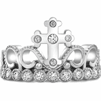 14K White Gold CZ Cross Crown Ring