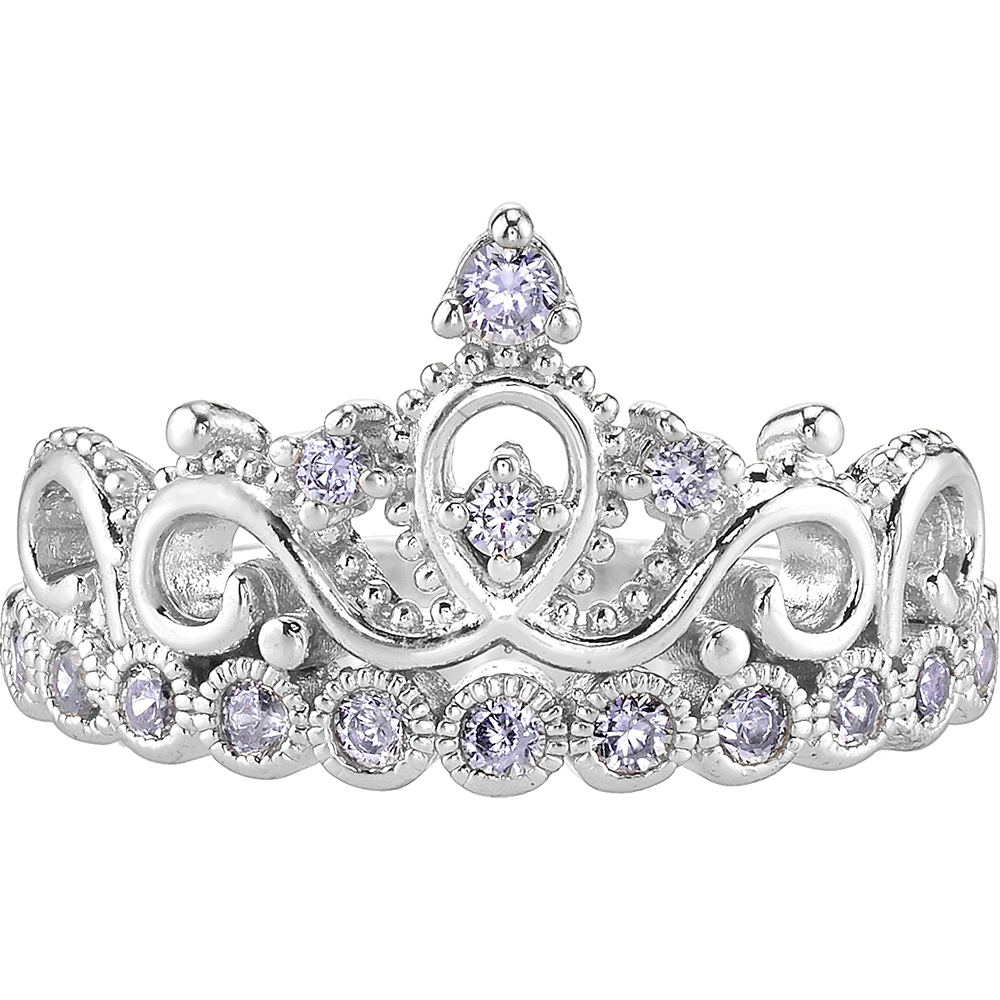 14K White Gold Princess Crown CZ Ring | Crown Rings ...