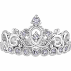 14K White Gold CZ Princess Crown Ring