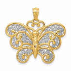 14K With Rhodium Filigree Butterfly Pendant
