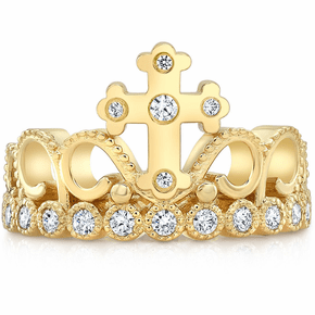 14K Yellow Gold CZ Cross Crown Ring