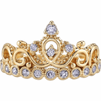 14K Yellow Gold CZ Princess Crown Ring