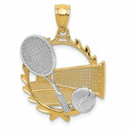 14K Yellow & Rhodium Tennis Pendant
