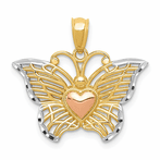 14K Yellow & Rose w/Rhodium Butterfly With Heart Pendant