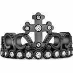 14K Black Gold CZ Cross Crown Ring