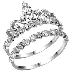 Dainty Rhodium-plated Sterling Silver Princess Crown Ring Set