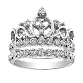 Rhodium-plated 925 Sterling Silver Heart Crown Ring Set