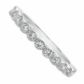 Rhodium-plated Silver CZ Crown Ring Band