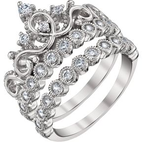 Rhodium-plated 925 Sterling Silver Princess Crown Ring Set