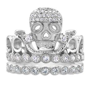 Rhodium-plated 925 Sterling Silver Skull Crown Ring Set