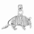 Sterling Silver 3D Armadillo Pendant (Rhodium, Yellow or Rose Gold-plated)