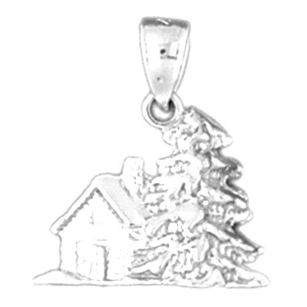 Sterling Silver 925 3D Christmas Tree Pendant 18 mm Jewels Obsession 3D Christmas Tree Pendant