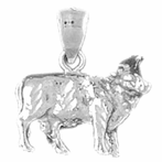 Sterling Silver 3D Cow Pendant (Rhodium, Yellow or Rose Gold-plated)