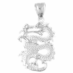 Sterling Silver 3D Dragon Pendant (Rhodium, Yellow or Rose Gold-plated)