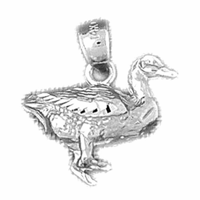 Sterling Silver 3D Duck Pendant (Rhodium, Yellow or Rose Gold-plated)