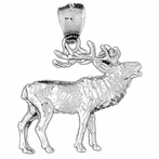 Sterling Silver 3D Elk Pendant (Rhodium, Yellow or Rose Gold-plated)